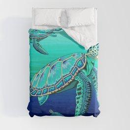 Sea Turtle Turquoise Oceanlife Duvet Cover