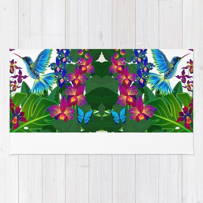 Tropical Hummingbird Pattern 1 Rug