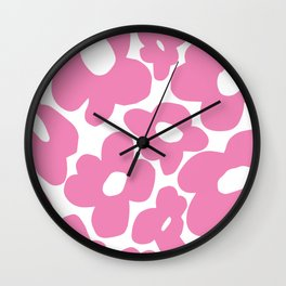 60s 70s Hippy Flowers Pink Wall Clock