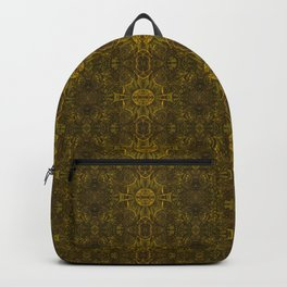 Butterfly Forest Bohemian Arabesque Pattern Old Gold Tobacco Backpack