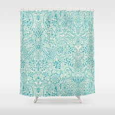 Detailed Floral Pattern in Teal and Cream Shower Curtain