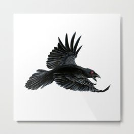 Black Crow Red Eyes Metal Print