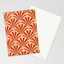 Art Deco Fan Pattern, Mandarin Orange Stationery Cards