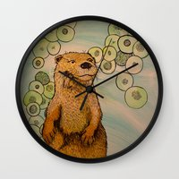 otter Wall Clocks featuring Otter by AlexandraDesCotes