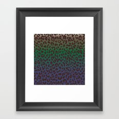 LEOPARD hue-TAUPE GREEN BLUE Framed Art Print