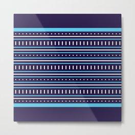 Stripes Pattern #206 (navy blue) Metal Print