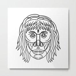 Homo Habilis Face Front Drawing Metal Print