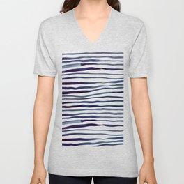 Irregular watercolor lines - indigo Unisex V-Neck
