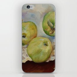 GREEN APPLES Still life Classic painting Rustic style Kitchen decor iPhone Skin