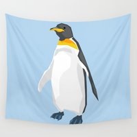 low poly Wall Tapestries featuring Penguin low poly art by James Thornton
