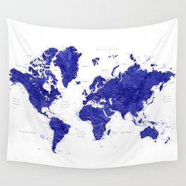 """Navy blue watercolor world map with cities, """"Ronnie"""" Wall Tapestry"""
