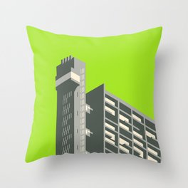 Trellick Tower London Brutalist Architecture - Lime Throw Pillow