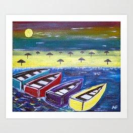 Vibrant Boats Art Print
