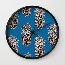 Christmas ornaments Gold Pineapples teal, Christmas decorations, Fruit, Holiday gift, Christmas gift Wall Clock