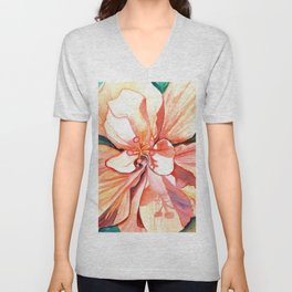 Double Peach Tropical Hibiscus Unisex V-Neck