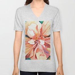 Double Peach Tropical Hibiscus Unisex V-Neck