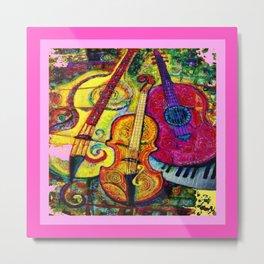 Rose Color Guitar String Instruments Metal Print