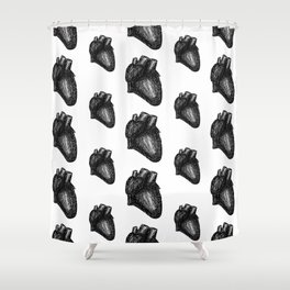 Anatomical Hearts - Black and White Shower Curtain