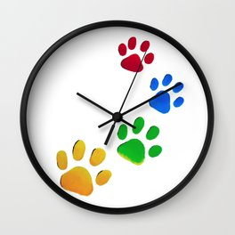 Dog Paw Painting Wall Clock