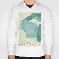 wisconsin Hoodies featuring Wisconsin State Map Blue Vintage by City Art Posters