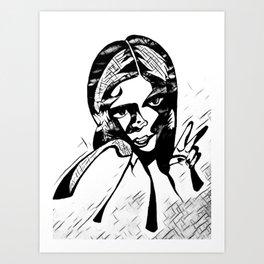 Peace in Grey Scale Art Print