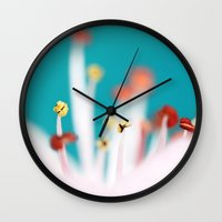 cherry blossom Wall Clocks featuring Cherry Blossom by Sharon Johnstone