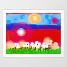 Abstract children love painting decor frame bedroom wall art framed print canvas poster graphic 3  Art Print