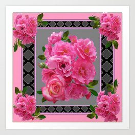 VICTORIAN STYLE CLUSTERED PINK ROSES ART Art Print