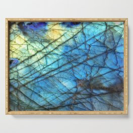 Royal Labradorite Crystal Agate Gemstone Print Serving Tray
