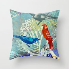 Birds in the backyard. Throw Pillow
