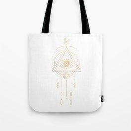 Mandala Golden Eye Geometric Tribal Tote Bag