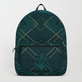 Elegant Art Deco Pattern Gold And Emerald Green Backpack
