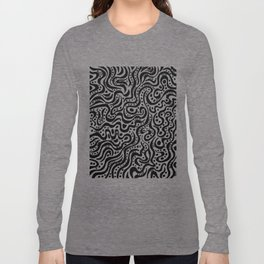 Abstract 041211 - Black on White Long Sleeve T-shirt