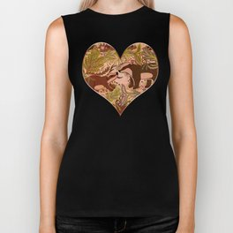 Badgers in Woodland Forest Plants under the Fall Sun, Cute Badger Mom & Baby in Woods Brown Green Biker Tank