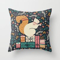 Throw Pillows featuring Merry Little Squirrel  by Poppy & Red