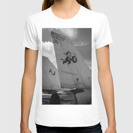 Navy Tomcat Jet Tailwings Black And White Print T-shirt