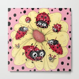 some quirky ladybugs and a couple of cute bees, pink coral yellow red black white Metal Print