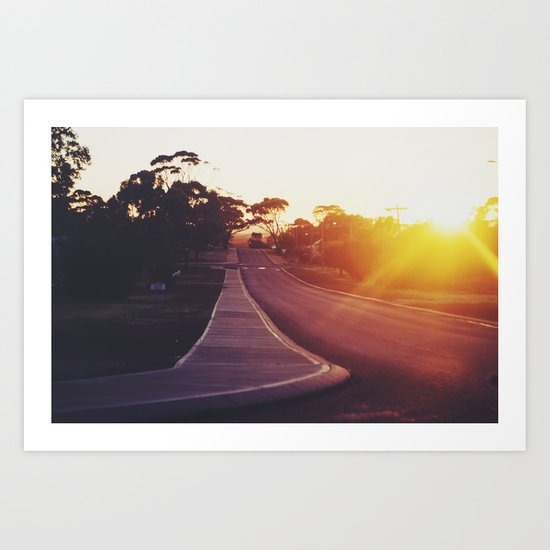Rural streets at sunrise Art Print