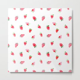 Baby strawberries || watercolor Metal Print