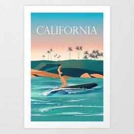 California Surf Girl poster  Art Print