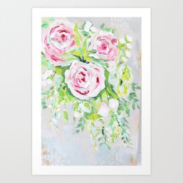 Pink rose floral bouquet Art Print