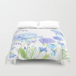 Watercolor Blue Garden Illustration Duvet Cover