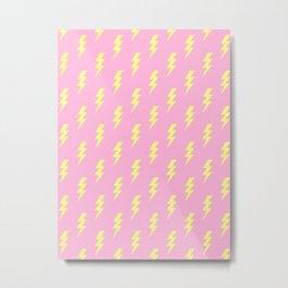 Lightning Bolt Pattern Thunderbolt Lightning Bolt Print Thunder Pattern Pink and Yellow Colors Metal Print