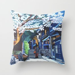 Under the Cherry Blossoms, Spring Throw Pillow
