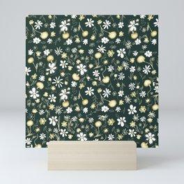 Daisy + Dandelion_green Mini Art Print