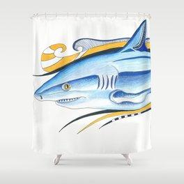 Funky Shark Orange Blue Ink Art Shower Curtain