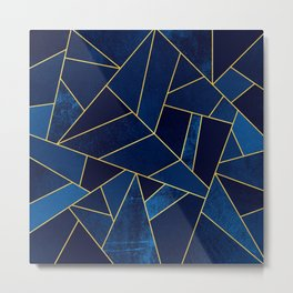 Blue stone with yellow lines Metal Print