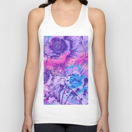 Abstract Flowers - The color of 2018, which is Ultraviolet Unisex Tank Top