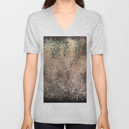 Sparkling GOLD BLACK Lady Glitter #1 #decor #art #society6 Unisex V-Neck