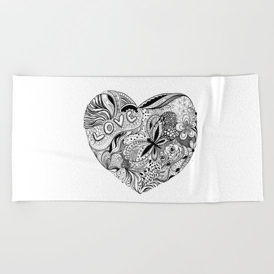 Floral heart for Valentines day Beach Towel